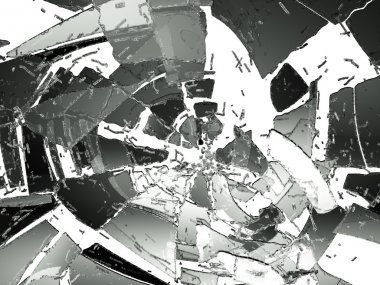 Destructed and cracked glass