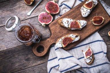 Rustic style tasty Bruschetta with jam