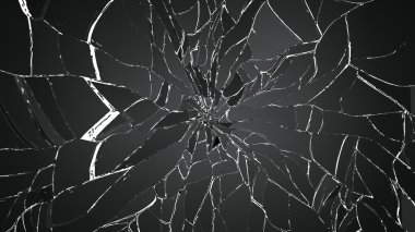 Pieces of shattered or cracked glass
