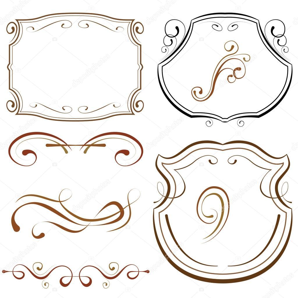 Vector conjunto de elementos para el diseño. Marcos y bordes ...