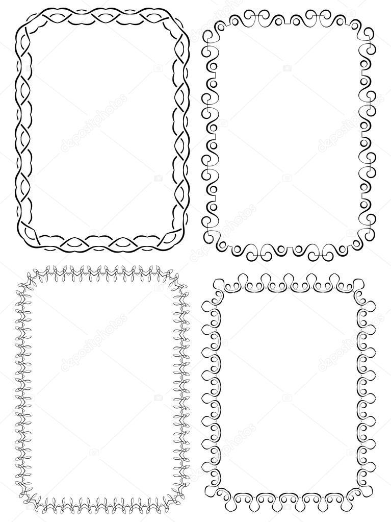 Vektor-Reihe der eleganten Rahmen auf weißem Hintergrund ...