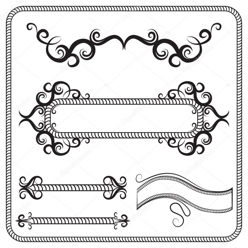 Conjunto de vectores de Marcos, decorados con espirales. La ...