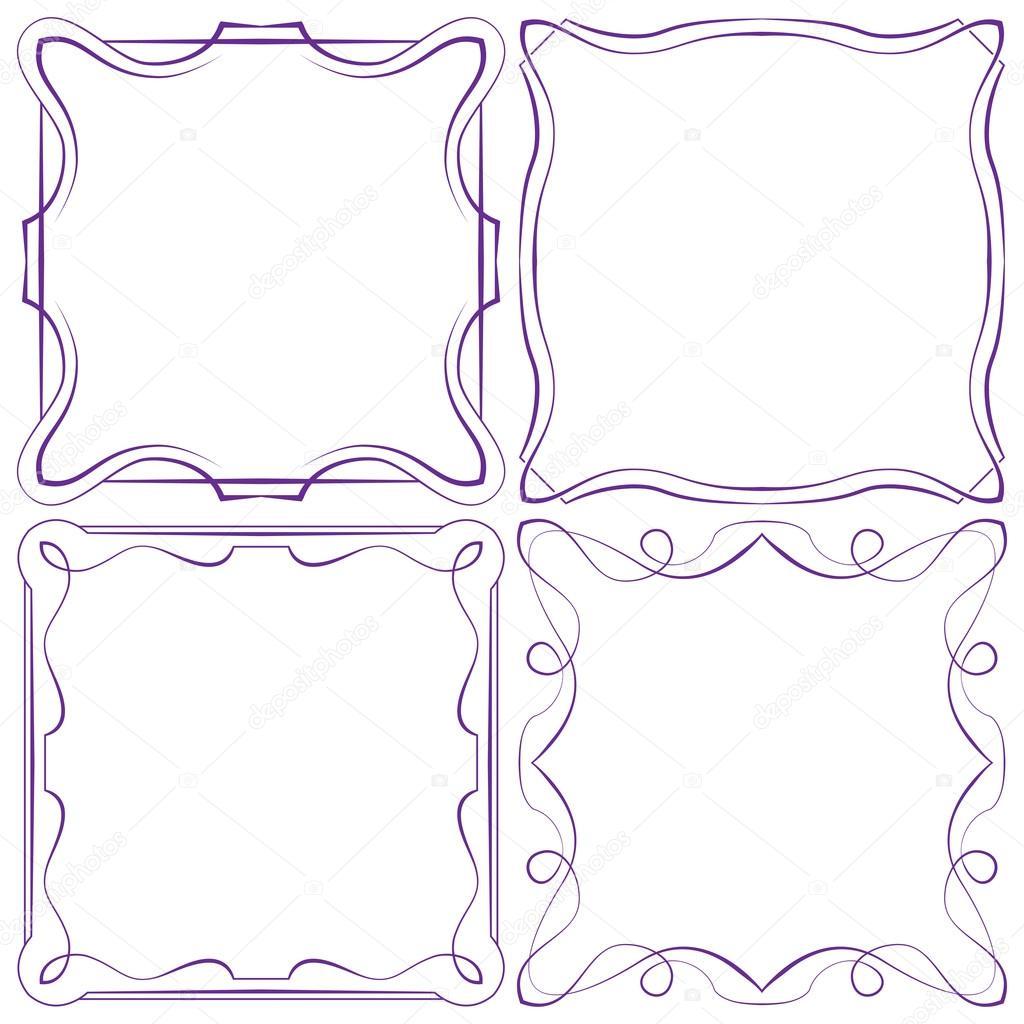 Conjunto de vector de cuatro marco hermoso — Vector de stock ...