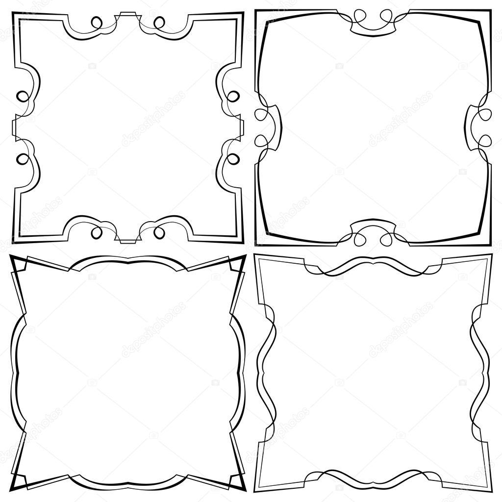 Conjunto de vector de cuatro marco hermoso — Archivo Imágenes ...