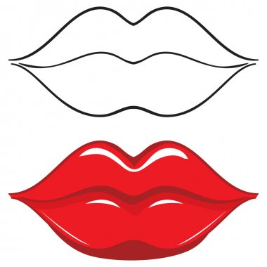 Vector illustration. Sexy red female lips. Set stock vector