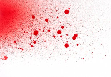 Blood (paint) spatters, splashes and sprays