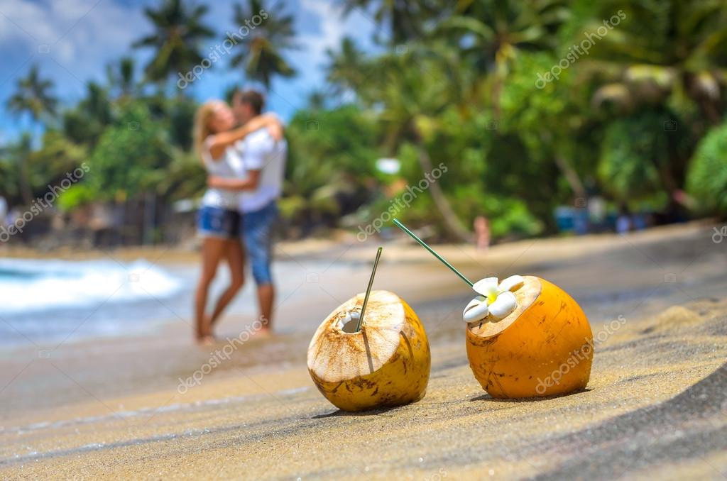 Cocunut on a tropical beach in Sri Lanka
