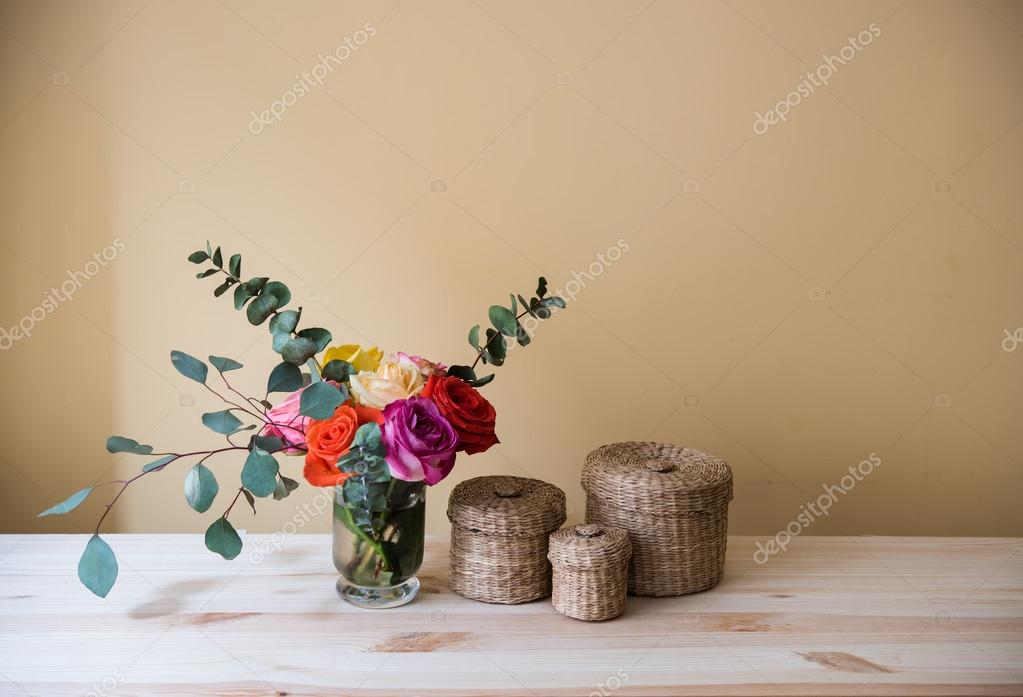 Oses In A Vase And Decorative Boxes Stock Photo Manera 105407242