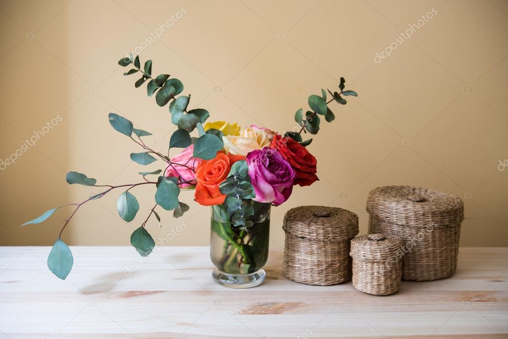 Oses In A Vase And Decorative Boxes Stock Photo Manera 105407564