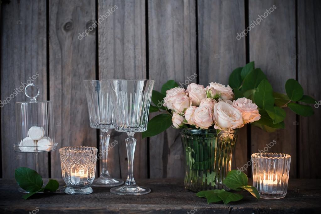 Elegante Vintage Hochzeit Tischdekoration Mit Rosen Und Kerzen