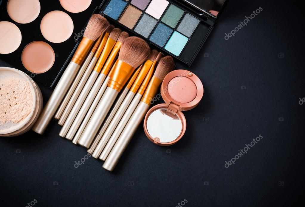 Professional Makeup Brushes And Tools Make Up Products Set Stock Photo