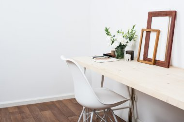 Stylish scandinavian interior design, white workspace