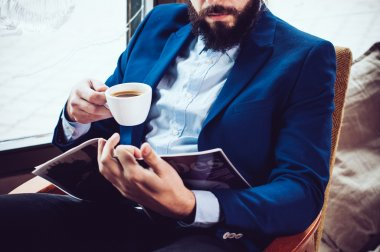 businessman in a blue jacket