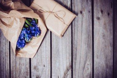 hyacinth on a vintage wooden board