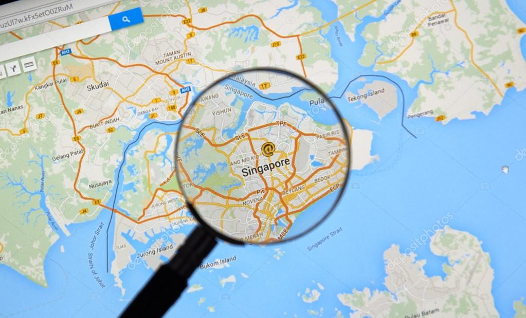 Singapore on a map stock editorial photo dennizn 101983470 montreal canada march 2016 singapore on google maps under magnifying glass singapore is a global financial centre located in malaysia gumiabroncs Images