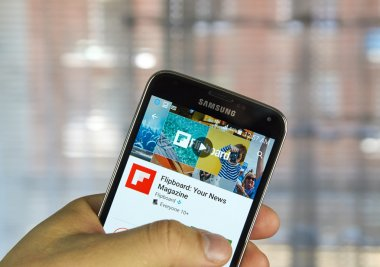 Flipboard application on a cell phone