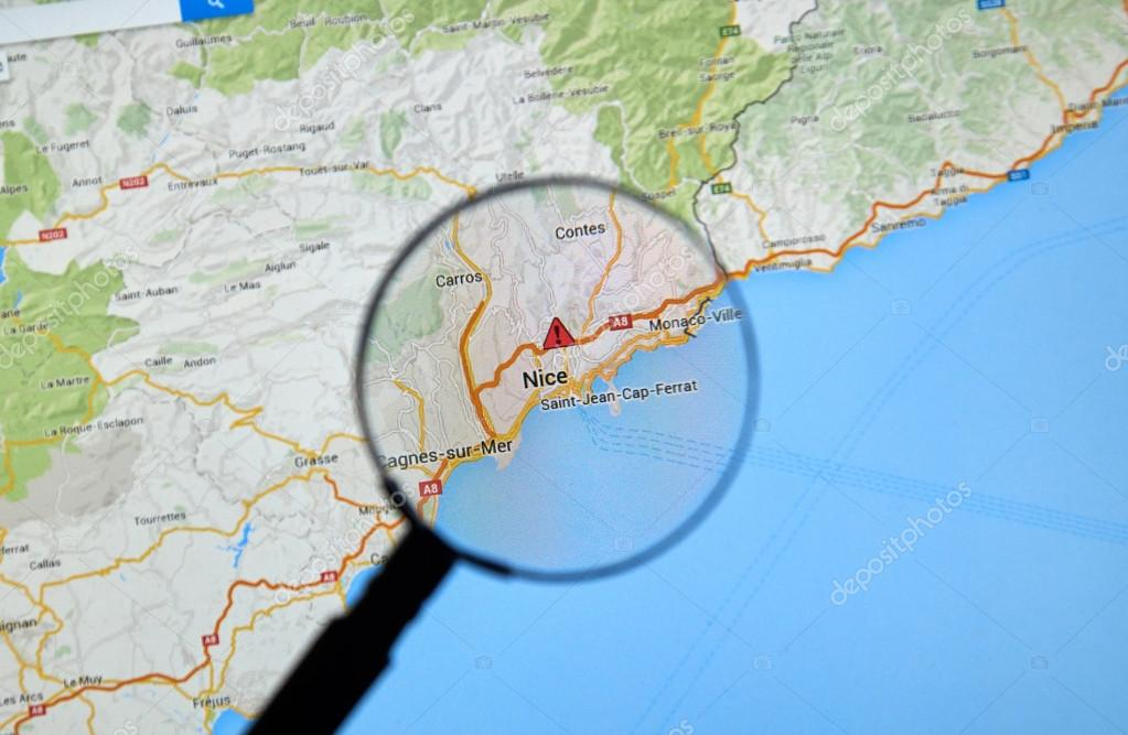 Nizza, Frankreich auf Google Maps — Redaktionelles Stockfoto ...