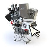 Fényképek Háztartási gépek, a bevásárló kosarába, és a kurzor. E-kereskedelem vagy o