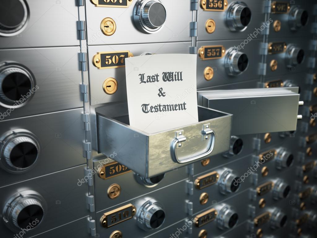 Última voluntad y Testamento en la caja. Concepto de patrimonio ...