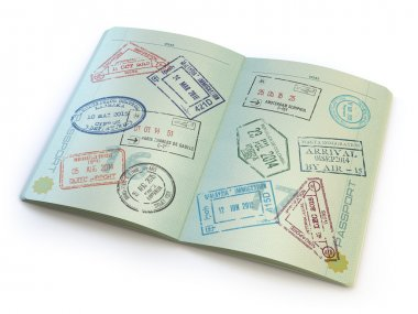 Opened passport with visa stamps on the  pages isolated on white