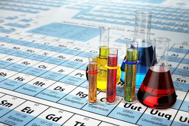 Science chemistry concept. Laboratory test tubes and flasks with