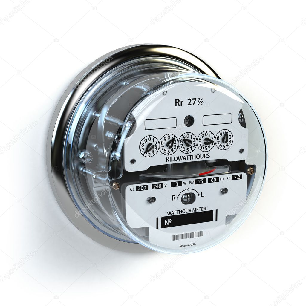 Analog Electric Meter Isolated On White Electricity