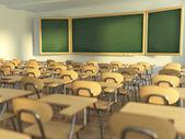 Schulklasse mit leeren Schule Stühlen und Tafel. Hintere t