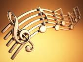 Goldene Musiknoten und Violinschlüssel auf musikalische Saiten auf gelb