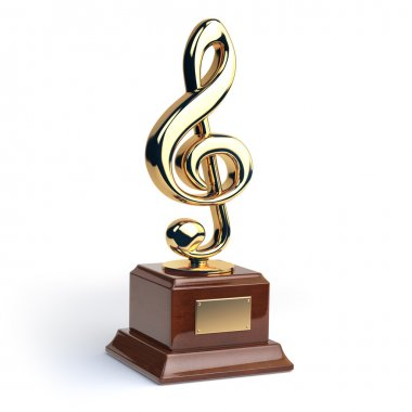 Gold treble clef s trophy isolated on white. Music award concept