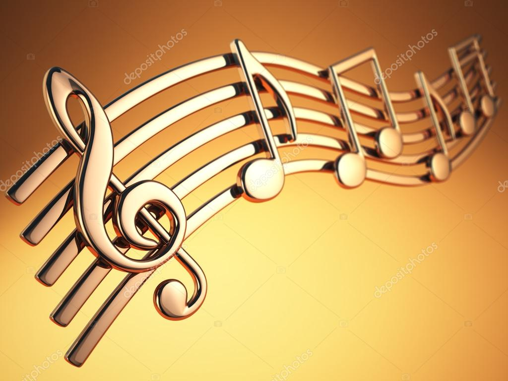 Golden music notes and treble clef on musical strings on yellow ...