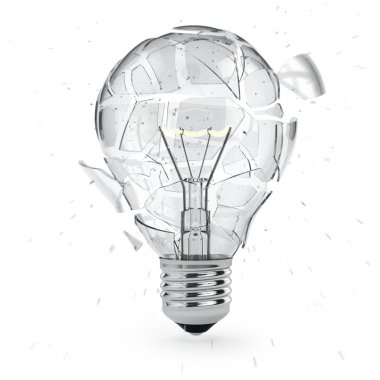 Light bulb exploding. Concept of idea.