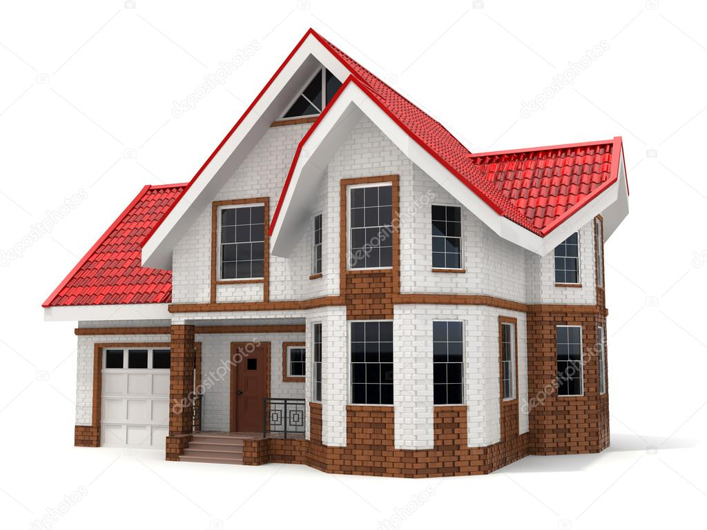Huis op witte achtergrond drie dimensionale afbeelding