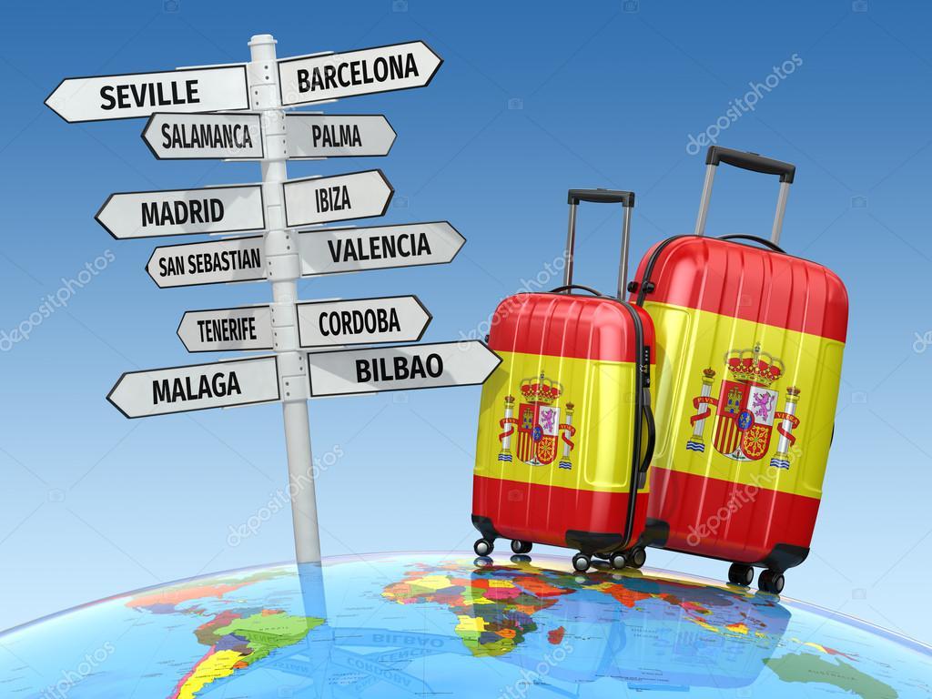 Concepto de viaje maletas y poste indicador que visitar - Viaje de novios espana ...