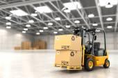 Fotografie Vysokozdvižný vozík ve skladu nebo ukládání, načítání kartonové krabice
