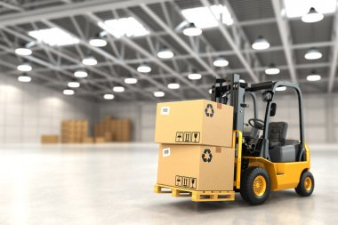 Forklift truck in warehouse or storage loading cardboard boxes. 3d stock vector