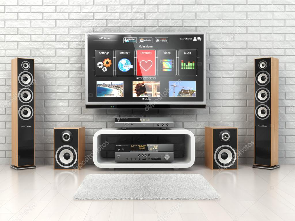 Home cinemar system. TV,  oudspeakers, player and receiver  in the room. 3d stock vector