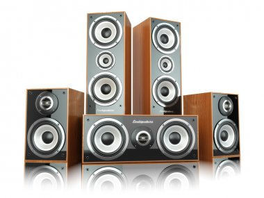 Group of audio speakers. Loudspeakers isolated on white.