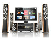 Photo Home cinemar system. TV,  oudspeakers, player and receiver  isol