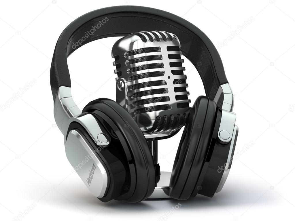 Vintage Micrófono Y Auriculares Concepto De Audio Y Estudio