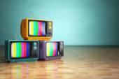 Vintage televízió koncepciója. Retro TV verem meg zöld főleg CIG