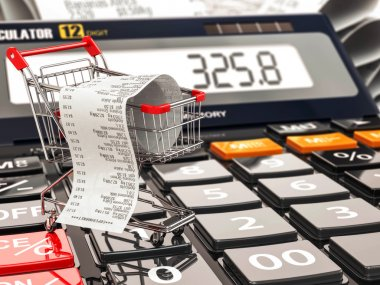 Shopping cart on calculator and receipt. Home budget or consumer