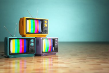Vintage television concept. Stack of retro tv set on green background. 3d stock vector