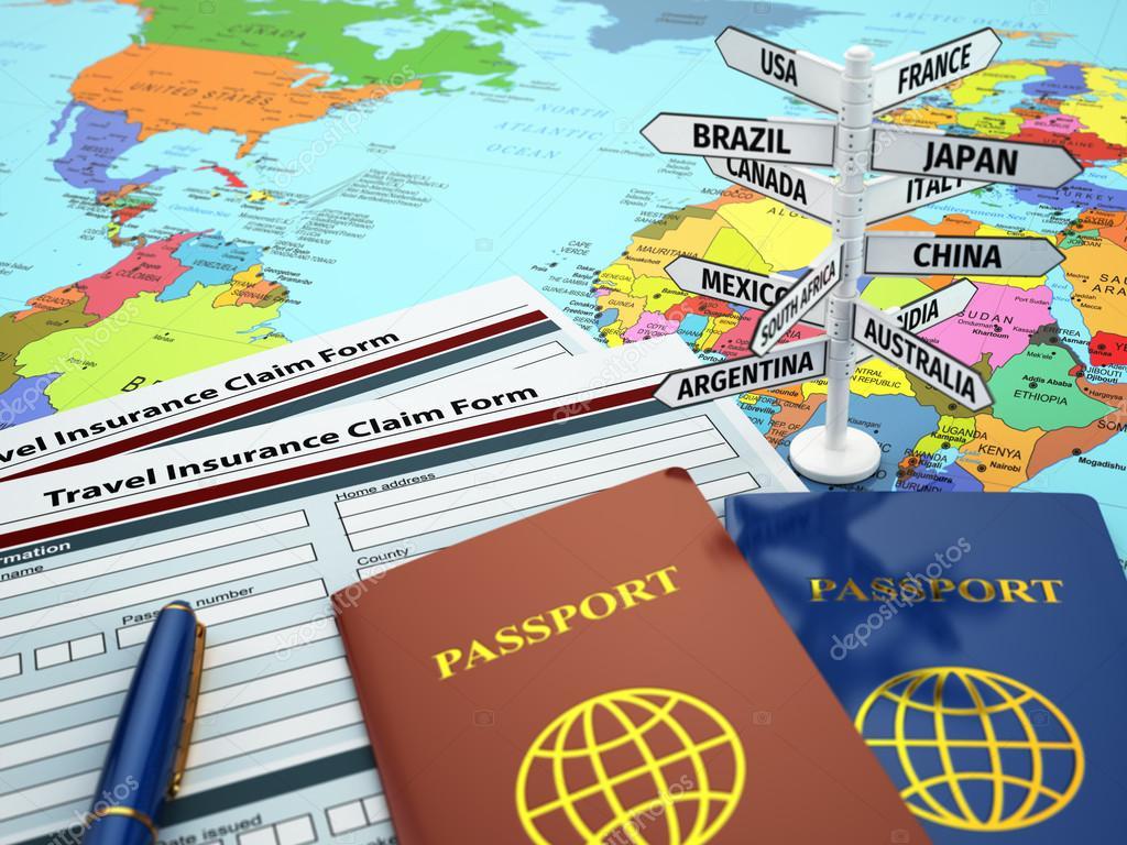 Travel insurance application form, passport and sign of destinat