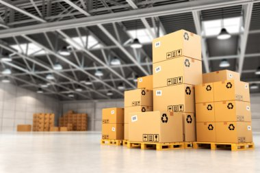 Delivery concept. Boxes on pallet in the warehouse. 3d stock vector