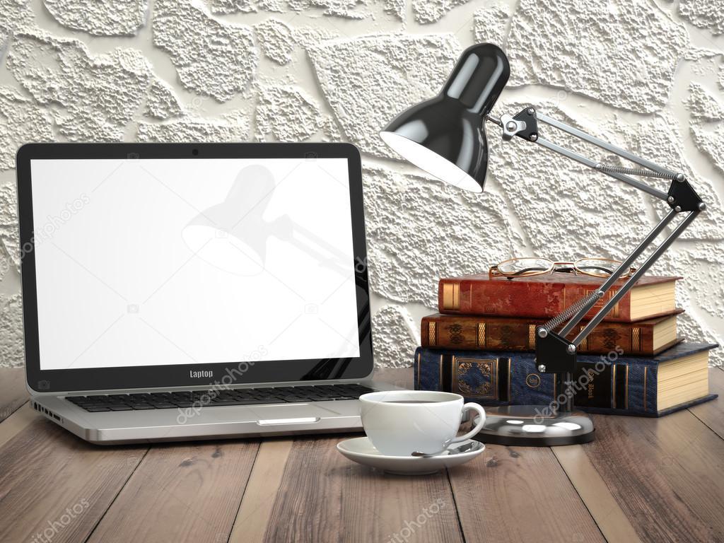 Laptop met boeken en koffiekopje op het vintage bureau moderne