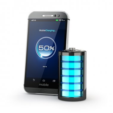 Mobile phone charging concept. Smartphone and battery charge