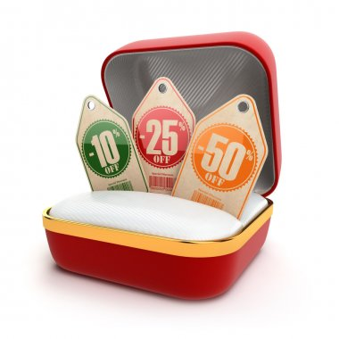 Open gift box with discount labels.