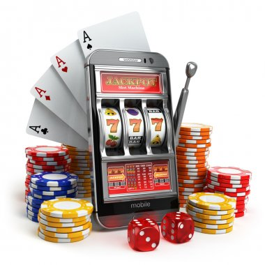 Online casino concept. Mobile phone, slot machine, dice and card