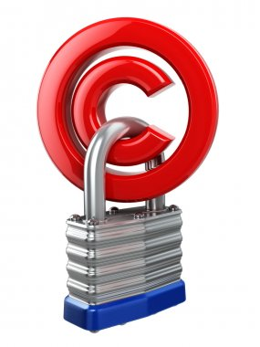 Copyright symbol with lock. Protection concept.