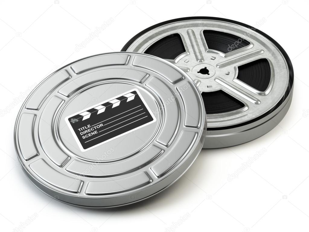 Film Reel And Box Video Movie Cinema Vintage Concept Stock